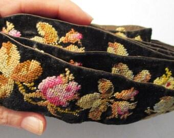 Antique Ribbon Velvet Victorian Silk Embroidered Roses RARE