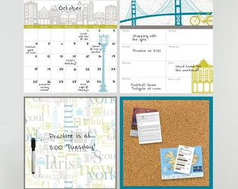"Dry Erase Calendar, Weekly Planner, Message Board and Corkboard - Wall Organization Kit, ""World Traveller"" Design"