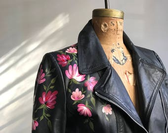 Vintage Leather Motorcycle Jacket with Hand-Painted Florals // SMALL