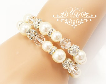 Wedding Jewelry Wedding Bracelet Double strands Swarovski Pearl Bracelet Swarovski Crystal Bracelet Bridal Bracelet Bridesmaids Bracelet