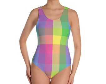 One-Piece Plaid Swimsuit