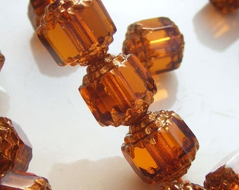 Czech Cathedral Beads 8mm Fire Polish Dark Topaz with Gold Glass  (Qty 8) SRB-8FPC-DT-G