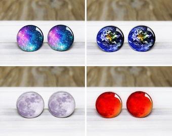 Space Stud Earrings - Choose one or get the complete set! - Hypoallergenic Earrings for Sensitive Ears