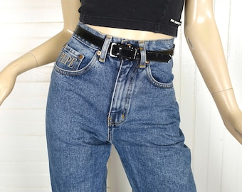 """90s Jeans by Pepe London- 1990s Vintage Tapered Skinny High Waist Blue Jeans in Stone Wash- Extra Small- """"Betty""""- Grunge / Punk"""