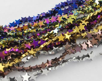 10 Premium Hematite 10mm Star Beads. 4 Colours available. (WL87&87A)