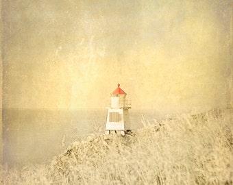 Lighthouse Beach Vintage Art Print  - Sepia Beige Red Nautical Nursery Childrens Room Beach House Home Decor Wall Art Photograph