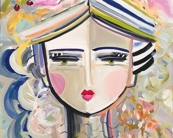 Warrior Girl Print woman art impressionist modern abstract girl paper or canvas, Gladys