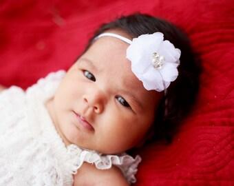 White Flower Headband, White Headband, Newborn Flower Headband, Newborn Headband, Baptism Headband, Wedding Headband, Flower Girl Headband