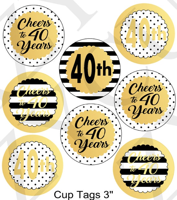 Black and Gold Printable Birthday Decorations 40th Birthday Cup