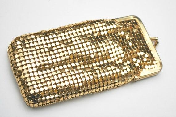 Vintage Gold Mesh Eye glass case Gold satin interior glass pouch