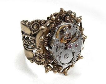 Steampunk Jewelry Ring Vintage Jewel Watch Movement, Handmade Band, Wedding Anniversary VALENTINES Day - Steampunk Jewelry by edmdesigns
