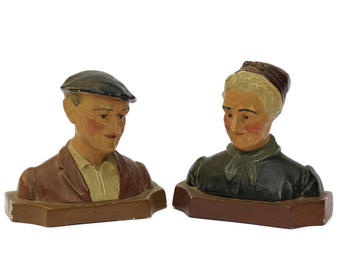 Vintage French Old Man and Woman Head Busts.