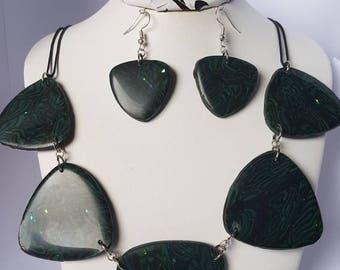 Set necklace & earrings Peacock