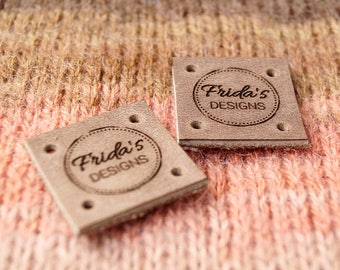 Leather tags - leather labels - knitting labels - crochet labels - clothing tags - logo branding tags, set of 25