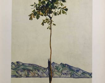 """Egon Schiele """"Chestnut Tree at the Lake of Constance"""" from Egon Schiele-As a Draughtman by Otto Denesch, 1950, 9.25 x 13.5 inches"""