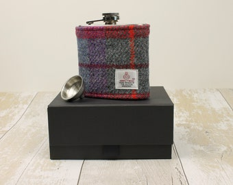 Hip Flask Groomsmen Gifts Best Man Gifts Wedding Flask Harris Tweed Flask Wedding Hip Flask Fathers Day Gift Gifts for Him Grey & Red Check
