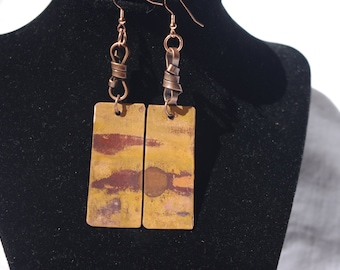 Flame Colored Copper Earrings