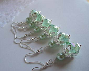 mint Green Bridesmaid Earrings Mint Wedding Maid of Honor Spring Bridal Gift