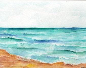 Aruba original watercolor painting, ocean art, seascape, 5 x 7, modern Caribbean artwork, small beach decor, watercolors paintings original