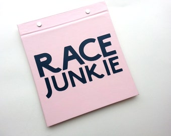 Running Bib Holder - Race Junkie - Gifts for Runners - Race Bib Book Hand-bound for Runners Pale Pink