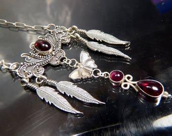 Victorian Garnet Butterfly Necklace Pendant sterling silver Scrollwork Chandelier feathers artisan steampunk jewelry