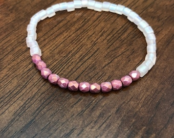 Frosted Baby Pink Bracelet With Metallic Matte Rose Czech Beads / Stackable Bracelet / Mix and Match / Simple Bracelet