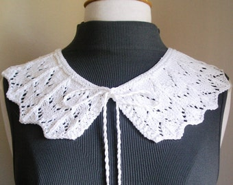 Knitted White Lace Collar -- One of a Kind (OOAK)