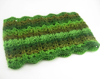Lacey cowl hand-crocheted with green variegated yarn