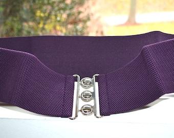 PLUS SIZE Cinch belt , Wide elastic stretch corset belt, Plus size belt, Purple elastic belt,