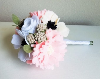 Rose, Anemone, Peony Felt Wedding Bouquet Wrapped in White Ribbon - Felt Bridal Bouquet, Felt Wedding Bouquet