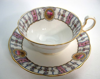 1920's Aynsley Tea Cup and Saucer, White tea cup with border of flowers, Antique tea cup and saucer.