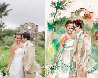 Portrait from Photo - original watercolor painting - custom - wedding anniversary gift - watercolor wall art