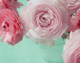 Pink Flower Photograph,  Ranunculus Still Life, Floral Art Print, Turquoise Floral Wall Decor, Nature Photography
