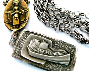 Our Lady of Lourdes Necklace, Vintage French Silver Virgin Mary Medal