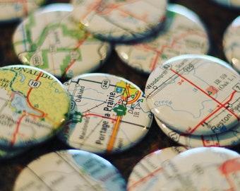 Badge personnalisé - carte de Manitoba Pick votre petite ville