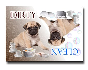 Pug Clean Dirty Dishwasher Magnet No 3 Fawn Puppy