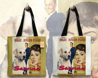 Golden Retriever Art Tote Bag - Sabrina Movie Poster   Perfect DOG LOVER Gift for Her Gift for Him