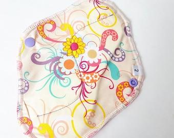 Cloth Mama Pad / Reusable Cloth Pad - Regular Flow  - Yellow & Pink Swirl Printed 8 Inch FREE Shipping