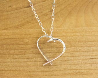 Sterling Silver Heart Necklace - Heart Necklace - Sterling Silver Necklace