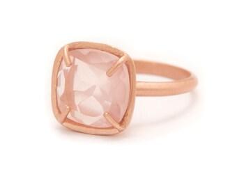 Rose Quartz in Rose Gold Gemstone Ring - Rose Gold Ring - Square Cushion Cut  - Gemstone Ring - Sizes  5, 6, 7, 8, 9, 10