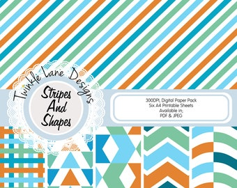 Stripes, Shapes, Digital Paper Pack, Geometric Shapes, Chevron, Triangles, Waves, Printable Paper, Background, Striped, Papercraft Papers