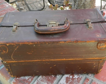 Large Vintage Leather Doctor's Bag Fold Out Compartments 1930s