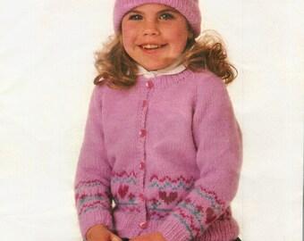 Girls Knitting Pattern, Girls Cardigan Knitting Pattern, Girls Beanie Hat Knitting Pattern, INSTANT Download Pattern PDF (2403)