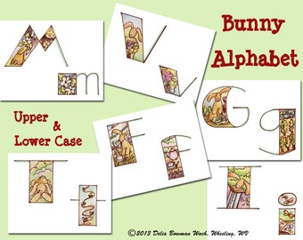Bunny Alphabet - Upper & Lower Case - Letters - Decorating - Teaching - Bunnies - Animals - Printable PDF - Instant Download