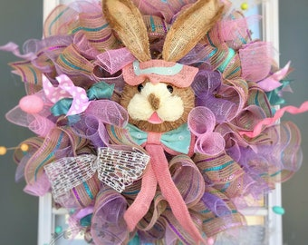 Burlap deco mesh wreath, bunny head wreath, spring easter deco mesh wreath, whimsical eater wreaths, deco mesh easter wreath, pastel wreath