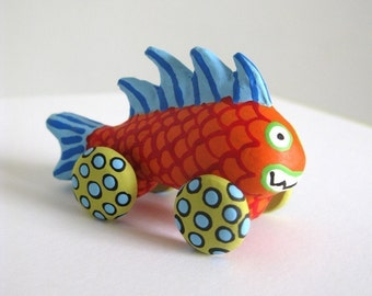 Orange Monster Fish - Mini Sculpture on Wheels