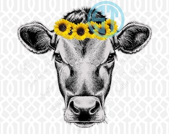 Sunflower Cow Sublimation Heat Transfer Pre Made DIY Iron On Personalized HTV Vinyl You Choose