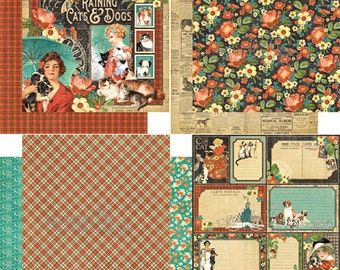PRICE REDUCED! Raining Cats & Dogs Paper Pack from Graphic 45 - 12 Sheets