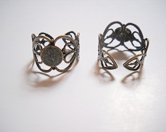 Ring Blanks Antiqued Bronze Filigree Ring Setting Adjustable Rings Wholesale Ring Blank Rings 10 pieces