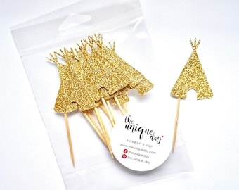 Teepee cupcake toppers, wild one party, Boho party, Tribal party, Gold Glitter - Set of 12
